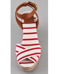 Tory Burch - Red Karissa Wedge Sandals - Lyst