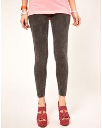 American Apparel - Gray Acid Wash Leggings - Lyst