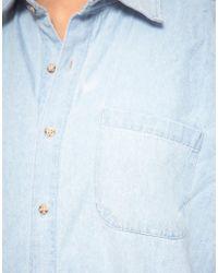 American Apparel - Blue Denim Shirt - Lyst