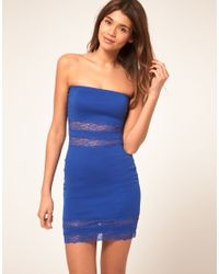 ASOS Collection | Blue Bandeau Dress with Lace Insert | Lyst