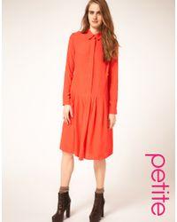 ASOS Collection - Pink Asos Petite Dropped Waist Shirt Dress - Lyst