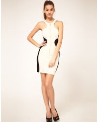 ASOS Collection - Natural Asos Bodycon Dress with Zip Front - Lyst