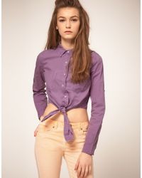 ASOS Collection | Purple Asos Cropped Tie Front Denim Shirt in Lilac | Lyst