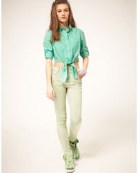 ASOS Collection - Asos Cropped Tie Front Denim Shirt in Mint Green - Lyst