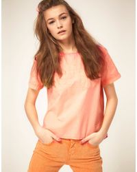 ASOS Collection - Pink Asos Neon Coral Pleat-back Denim T-shirt - Lyst