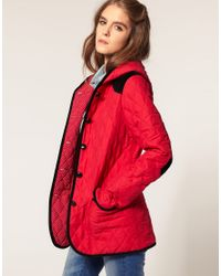 ASOS Collection | Red Asos Quilted Jacket with Hood | Lyst