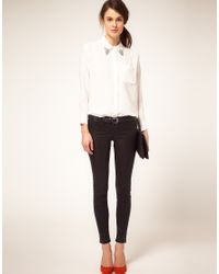 Equipment - White Shirt Daddy One Pocket Loose Fit Jewel Tip Collar - Lyst
