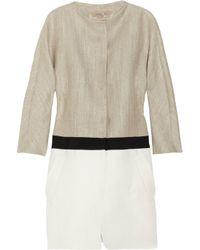 Giambattista Valli | Brown Color-blocked Woven Coat | Lyst