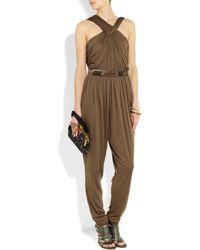 Lanvin | Brown Jersey Jumpsuit | Lyst