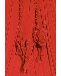 Lanvin | Red Draped Belted Crepe-jersey Dress | Lyst