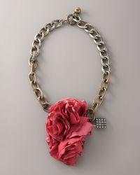 Lanvin - Pink Collier Fleur Brule Necklace - Lyst