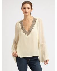Love Sam | Natural Jeweled Bell-sleeve Top | Lyst