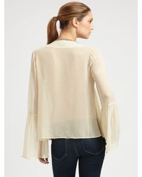 Love Sam - Natural Jeweled Bell-sleeve Top - Lyst