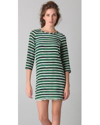 Peter Som | Green Hand Painted Stripe Dress | Lyst