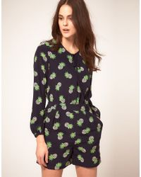Whistles | Black Pineapple Print Jumpsuit | Lyst