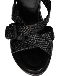 Alexander Wang | Black Petra Textured-leather Sandals | Lyst