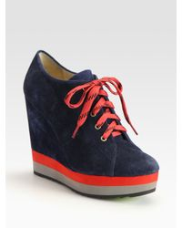 Boutique 9 | Blue Sporty Suede Colorblock Wedge Ankle Boots | Lyst