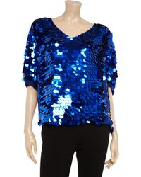 Foley + Corinna - Blue Paillette-embellished Chiffon Top - Lyst