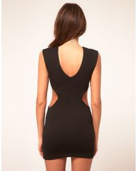 ASOS Collection | Black Asos Petite Exclusive Dress with Cut Out Sides and Pleat Neck Detail | Lyst