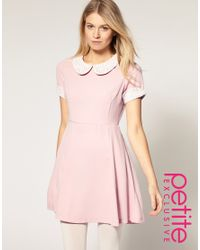 ASOS Collection | Pink Asos Petite Exclusive Waisted Dress with Crochet Collar and Cuff | Lyst