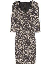 Dolce & Gabbana | Gray Lace-print Stretch-silk Pencil Dress | Lyst