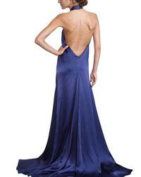 Ferragamo | Blue Jewelled Silk Sable Long Dress | Lyst