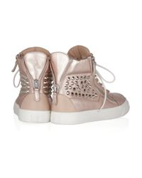 Giuseppe Zanotti | Brown Studded Metallic Leather Sneakers | Lyst