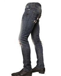 John Richmond - Blue 19cm Swarovski Stretch Denim Jeans for Men - Lyst