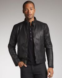 John Varvatos - Black Mandarin-Collar Leather Jacket for Men - Lyst