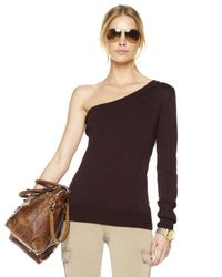 Michael Kors - Brown One-shoulder Sweater - Lyst