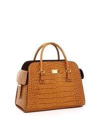 Michael Kors | Brown Gia Crocodile-embossed Leather Satchel, Barley | Lyst