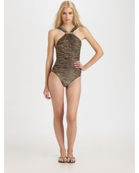 Michael Kors | Black One-piece Metallic Zebra-print Swimsuit | Lyst