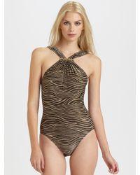 Michael Kors | Black One-piece Metallic Zebra-print Swimsuit | Lyst