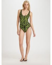 Michael Kors | Green One-piece Cutout Swimsuit | Lyst