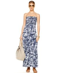 Michael Kors | Blue Strapless Maxi Dress | Lyst