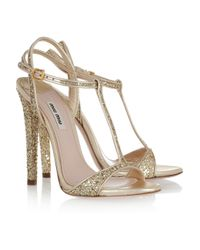 Miu Miu | Metallic Glitter-finish Leather Sandals | Lyst