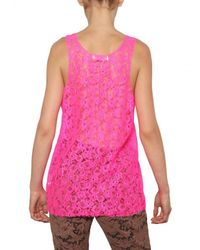 MSGM   Pink Lace Top   Lyst
