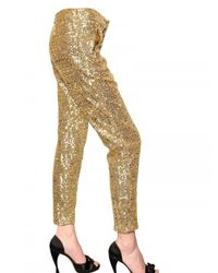 N°21 | Metallic Sequined Satin Trousers | Lyst