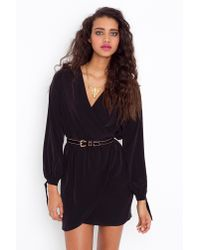 Nasty Gal | Tied Wrap Dress - Black | Lyst