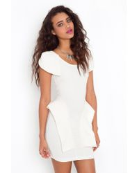 Nasty Gal | White Victoria Peplum Dress - Cream | Lyst