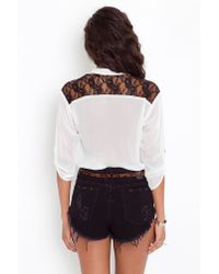 Nasty Gal | White Lace Pocket Blouse - Ivory | Lyst