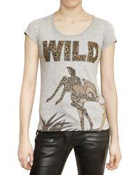 Philipp Plein | Gray Swarovski Wild Bambi Cotton Jersey T-shirt | Lyst