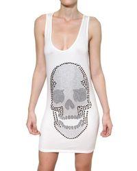 Philipp Plein - White Swaroski Skull Viscose Jersey Dress - Lyst