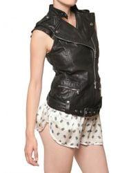 Balmain | Black Biker Leather Vest | Lyst