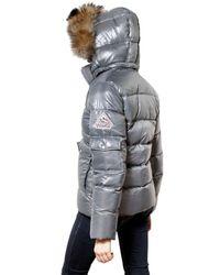 Pyrenex | Gray Racoon Hood Laquered Nylon Down Jacket | Lyst