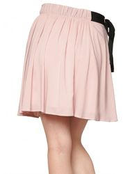 RED Valentino - Pink Flowy Crepe Bow Skirt - Lyst