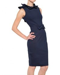 RED Valentino - Blue Structered Thick Jersey Bow Dress - Lyst