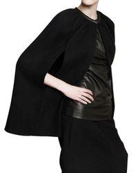 Rick Owens | Black Boiled Double Cashmere Short Cape Coat | Lyst