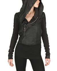 Rick Owens | Black Blister Leather Hooded Biker Jacket | Lyst