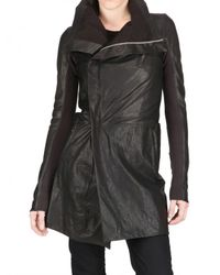 Rick Owens | Black Long Biker Leather Jacket | Lyst